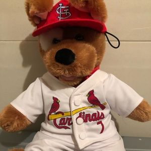 Build a Bear doggie dressed in Cardinals attire